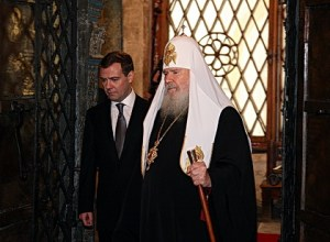 Newly Inaugurated Russian President Dmitry Medvedev and Patriarch Alexy II